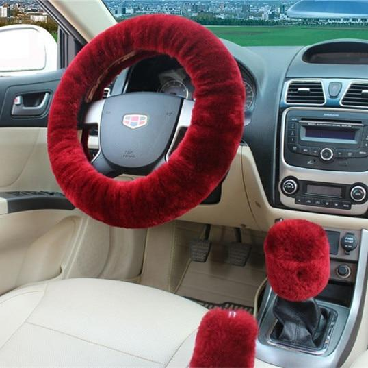 PINkart-USA Maroon 100% Wool Braid On The Steering Wheel Cover Of Car Handbrake Grip /High Quality Wool Plush Gear