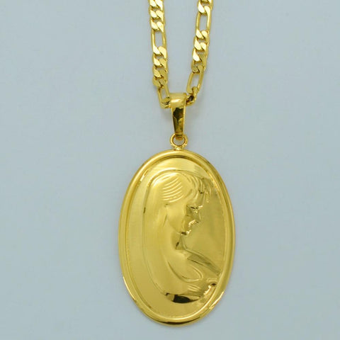 PINkart-USA Mary Portrait Necklaces For Women/Men Gold Color Virgin Mary Figure Pendant Necklace Catholic
