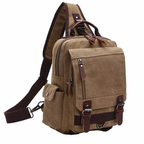 Men Canvas Chest Sling Bag Cross Body Messenger Shoulder Pack Travel Rucksack Bookbag School Bag