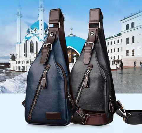 Men Pu Leather Vintage Fashion Sling Chest Bag Travel Cross Body Messenger Small Male Shoulder