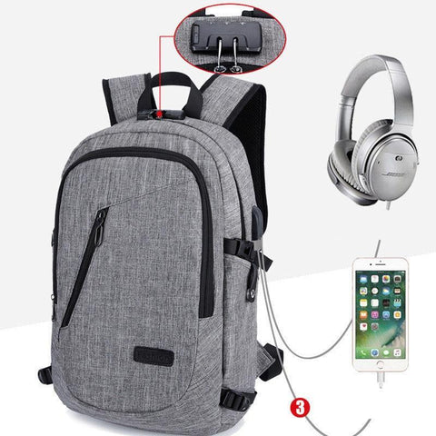 PINkart-USA Model A Black Fashion Anti-Theft Password Locks Men Backpack With Usb Charging Laptop Backpacks Whit Headphone Plug Casual Travel Bags Mochila
