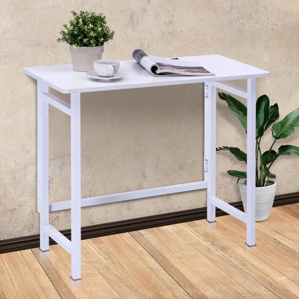 PINkart-USA Modern Folding Table Office Computer Desk Pc Laptop Writing Table Home Office Workstation White