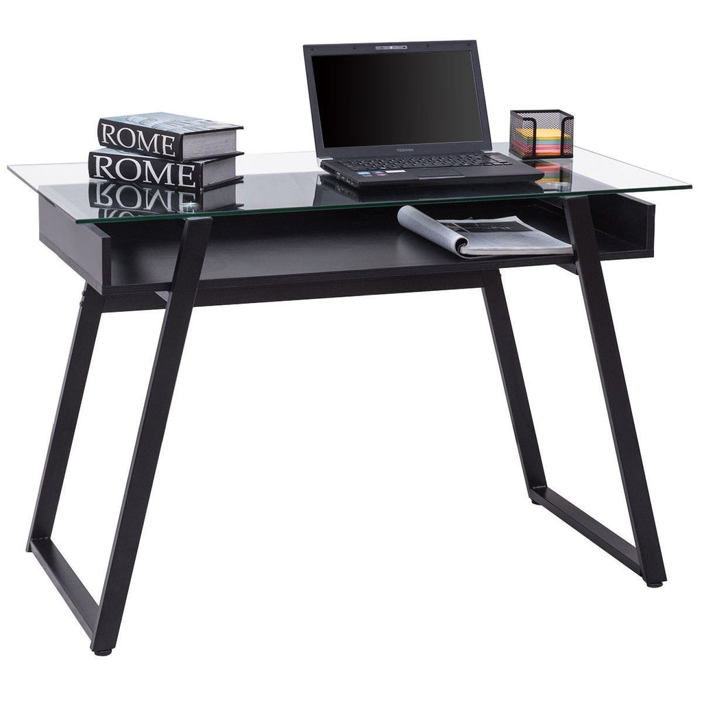 PINkart-USA Modern Glass Top Computer Desk Pc Laptop Table Writing Study Workstation With Wood Shelf Home