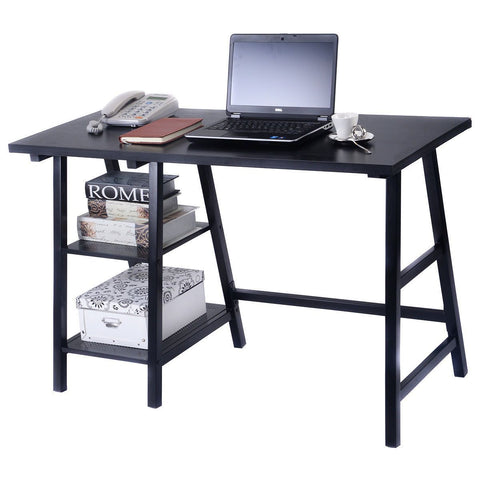 PINkart-USA Modern Trestle Desk Wood Laptop Writing Table With Storage Shelves Home Office Furniture Computer