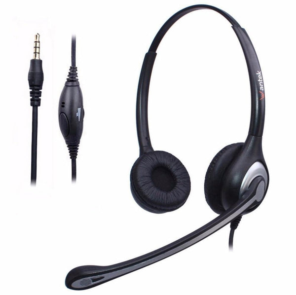 3.5Mm Headphone Cell Phone Headset Noise Canceling Mic And Adjustable Fit Headband For Iphone