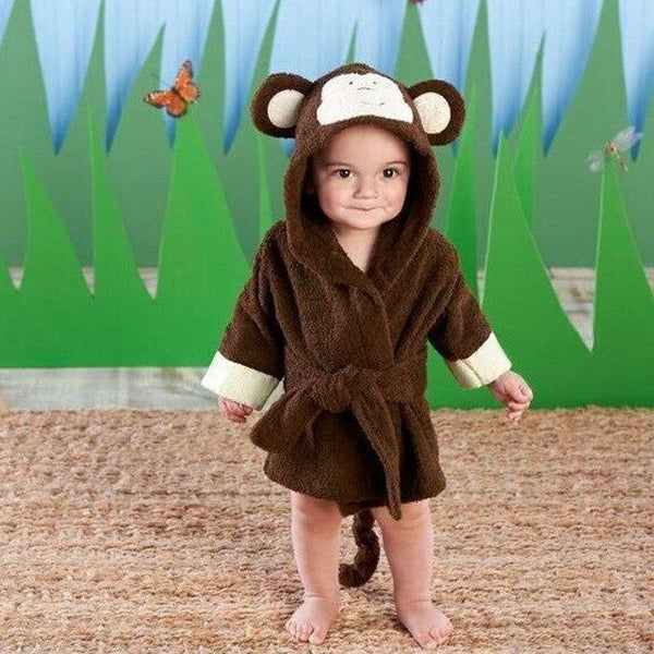 PINkart-USA monkey / 9M Infant Animal Modeling Of Home Service Cotton Hooded Bathrobes Children'S Various Shapes Of Animals