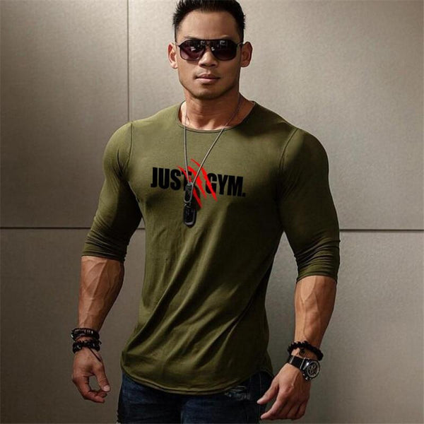 PINkart-USA Muscle Guys Mens Sporting O-Neck Long Sleeve T Shirt Homme Autumn Bodybuilding Fitness Clothing