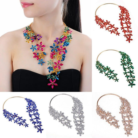 PINkart-USA N0009522 / China Fashion Jewelry Cluster Crystal Pendant Choker Chunky Statement Bib Necklace