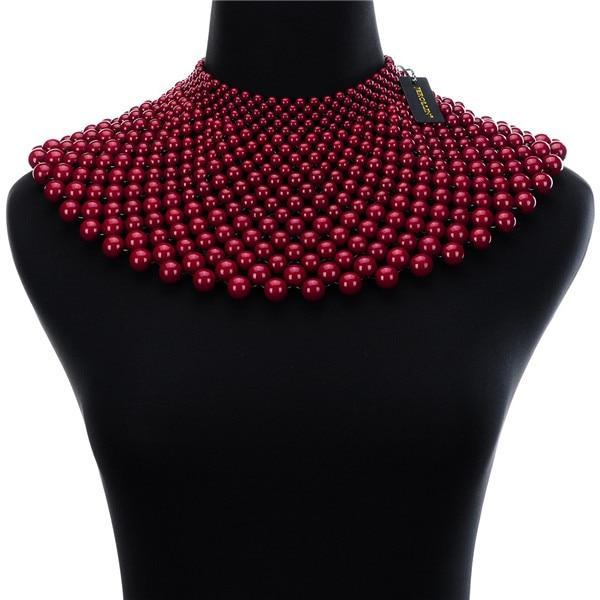 PINkart-USA N0012267 / China / 400-350 mm 12 Colors Chunky Statement Necklace For Women Neckcklace Bib Collar Choker Pearl Necklace Maxi