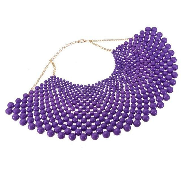 PINkart-USA N0012483 / China / 400-350 mm 12 Colors Chunky Statement Necklace For Women Neckcklace Bib Collar Choker Pearl Necklace Maxi