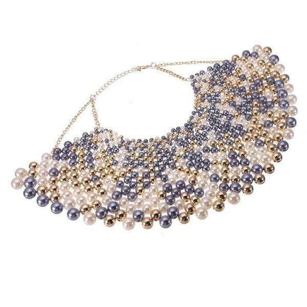 PINkart-USA N0012484 / China / 400-350 mm 12 Colors Chunky Statement Necklace For Women Neckcklace Bib Collar Choker Pearl Necklace Maxi