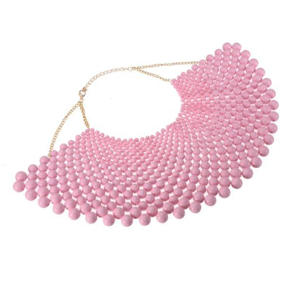 PINkart-USA N0012485 / China / 400-350 mm 12 Colors Chunky Statement Necklace For Women Neckcklace Bib Collar Choker Pearl Necklace Maxi