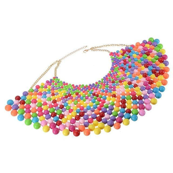 PINkart-USA N0012698 / China / 400-350 mm 12 Colors Chunky Statement Necklace For Women Neckcklace Bib Collar Choker Pearl Necklace Maxi