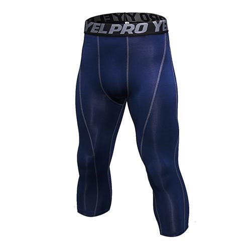 PINkart-USA navy blue / L Mens Compression Tights 3/4 Pants Sports Tight Fitness Running Basketball Trouser Jogging