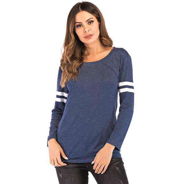 PINkart-USA Navy Blue / S / China Spring Autumn Women'S T-Shirts Patchwork Striped Long Sleeve T-Shirt Quick Dry Fitness Tee Tops