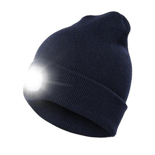 PINkart-USA Navy Blue Unisex Autumn Winter Led Lighted Cap Warm Beanies Outdoor Fishing Running Beanie Hat Flash