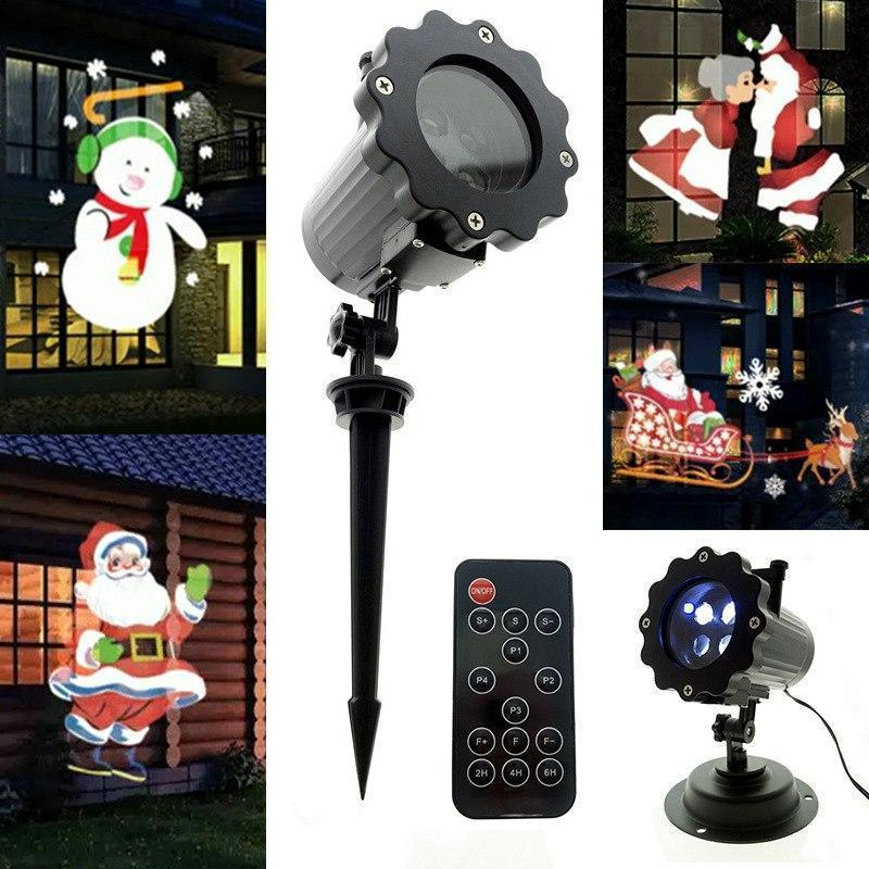PINkart-USA New Film Animation Projector Lights 4 Pattern Led Garden Light Waterproof Christmas Projection Lamp