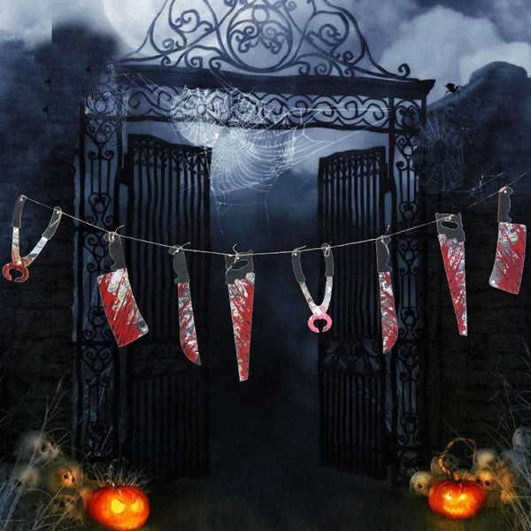 PINkart-USA New Haunted House Hanging Garland Scary Broken Hand And Feet Halloween Banner Outdoor Decor