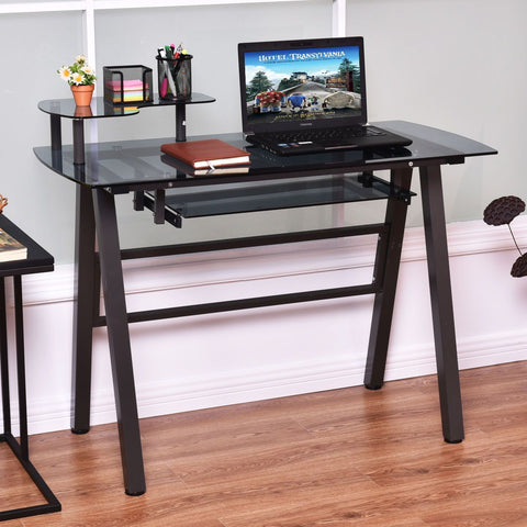 PINkart-USA Office Glass Top Computer Desk Modern Pc Laptop Table Home Workstation Metal Frame With Printer