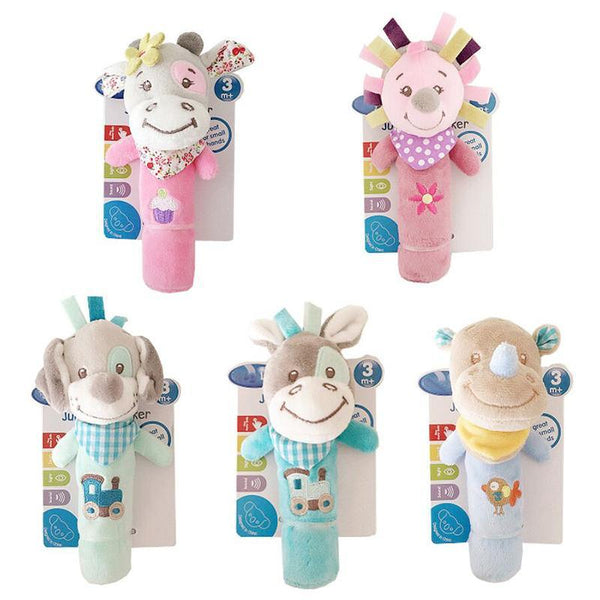 PINkart-USA Online Shopping 0-12 Months Born Bb Sticks Plush Baby Toys Soft Dog Cattle Doll Baby Rattle Colorful Infant