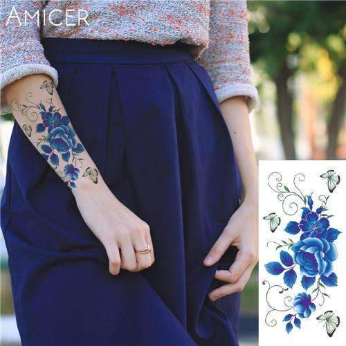 PinKart-USA Online Shopping 01 Rose Artificial Flowers Arm Shoulder Tattoo Stickers Flash Henna Tattoo Fake Waterproof Temporary