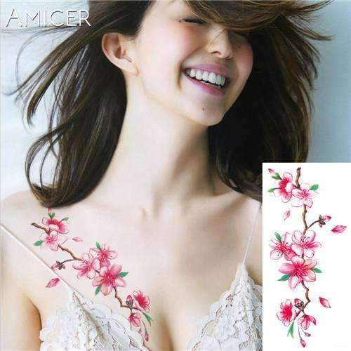 PinKart-USA Online Shopping 02 Rose Artificial Flowers Arm Shoulder Tattoo Stickers Flash Henna Tattoo Fake Waterproof Temporary