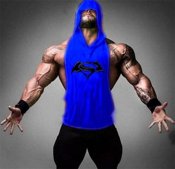 PINkart-USA Online Shopping 02blue / M Batman Vs Superman Sleeveless T Shirt With Hoody Brand Gyms Clothing Fitness Men Bodybuilding