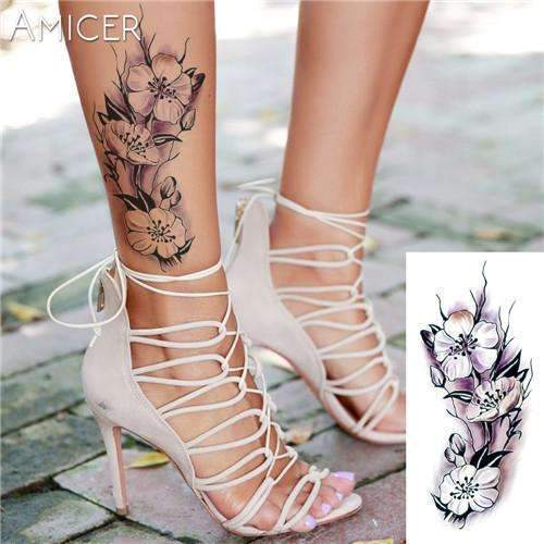 PinKart-USA Online Shopping 03 Rose Artificial Flowers Arm Shoulder Tattoo Stickers Flash Henna Tattoo Fake Waterproof Temporary