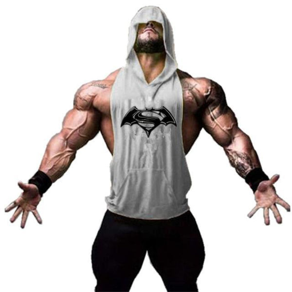 PINkart-USA Online Shopping 03gray / M Batman Vs Superman Sleeveless T Shirt With Hoody Brand Gyms Clothing Fitness Men Bodybuilding