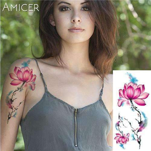 PinKart-USA Online Shopping 04 Rose Artificial Flowers Arm Shoulder Tattoo Stickers Flash Henna Tattoo Fake Waterproof Temporary