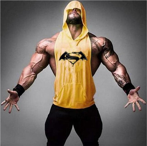 PINkart-USA Online Shopping 04yellow / M Batman Vs Superman Sleeveless T Shirt With Hoody Brand Gyms Clothing Fitness Men Bodybuilding