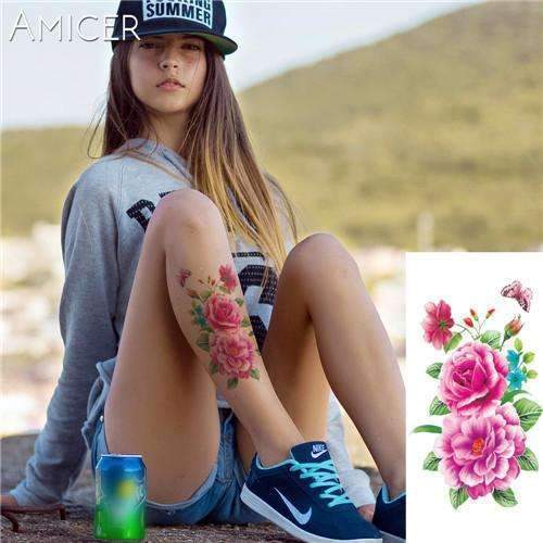 PinKart-USA Online Shopping 05 Rose Artificial Flowers Arm Shoulder Tattoo Stickers Flash Henna Tattoo Fake Waterproof Temporary
