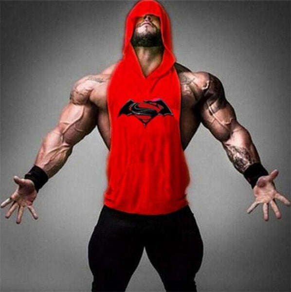 PINkart-USA Online Shopping 05red / M Batman Vs Superman Sleeveless T Shirt With Hoody Brand Gyms Clothing Fitness Men Bodybuilding