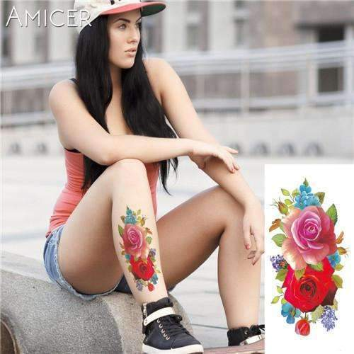 PinKart-USA Online Shopping 06 Rose Artificial Flowers Arm Shoulder Tattoo Stickers Flash Henna Tattoo Fake Waterproof Temporary