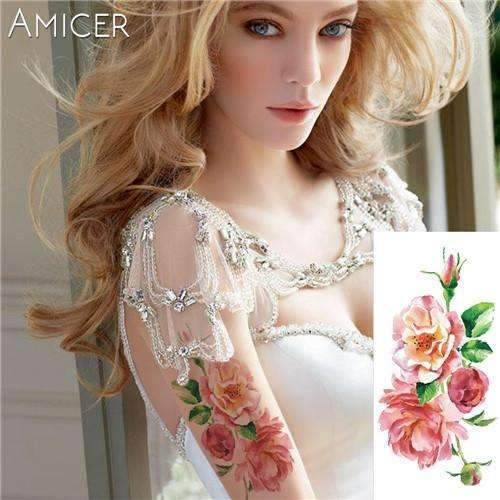 PinKart-USA Online Shopping 07 Rose Artificial Flowers Arm Shoulder Tattoo Stickers Flash Henna Tattoo Fake Waterproof Temporary