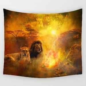 PINkart-USA Online Shopping 1 / 150x130cm Comwarm African Animals Pattern Colored Lion Howling Wolf Polyster Tapestry Wall Hanging Beach