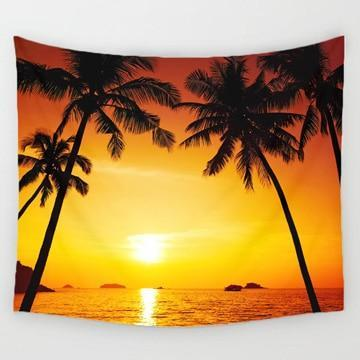PINkart-USA Online Shopping 1 / 150x130cm Comwarm Cozy Sunset Coastal Natural Scenery Wall Hanging Gobelin Mural Coconut Tree Printed