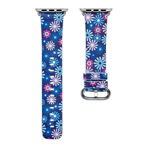 PINkart-USA Online Shopping 1 / 38mm Flower Gift Christmas Pattern Leather Strap For Apple Watch Band 42 38 40 44Mm Iwatch Series
