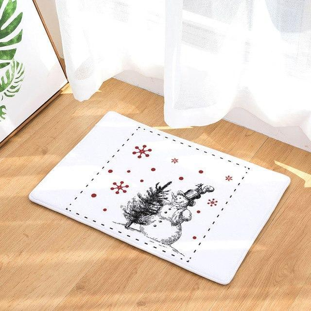 PINkart-USA Online Shopping 1 / 400mm x 600mm Hyha Xmas Mat Waterproof Anti-Slip Doormat Santa Claus Snow Carpets Bedroom Rugs Decorative Stair