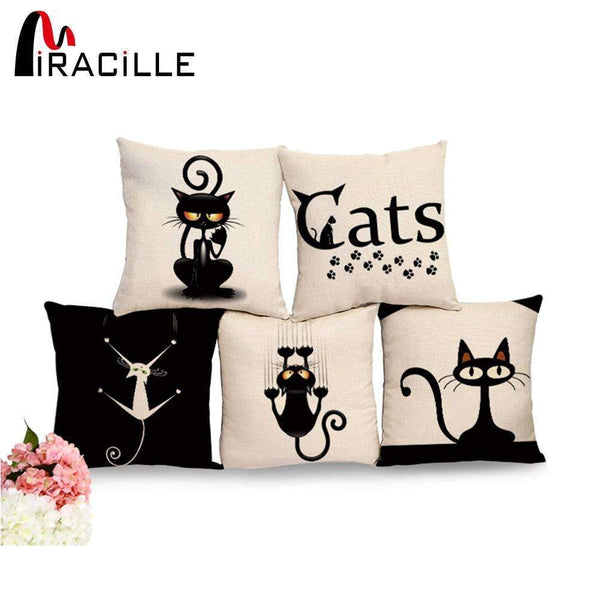 PinKart-USA Online Shopping 1 / 44x44cm No Filling Miracille Square Cotton Linen Black Climbing Cat Animals Printed Decorative Throw Pillows Home Deco