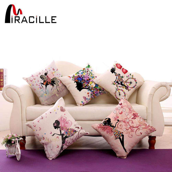 PinKart-USA Online Shopping 1 / 45x45cm Just Cover Square 18 Cotton Linen Decorative Cushions Flower Fairy Bike Butterfly Throw Pillows Sofa Home