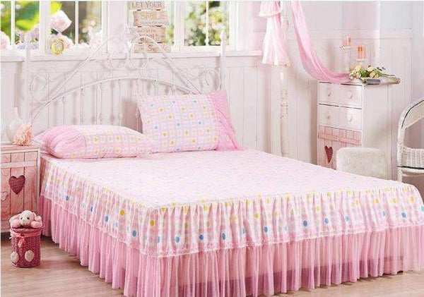 PinKart-USA Online Shopping 1 / full Peony Pattern Bud Silk Bed Skirt 3Pcs Bed Sheet Bedspreads Twin Full Queen King Size Purple Pink