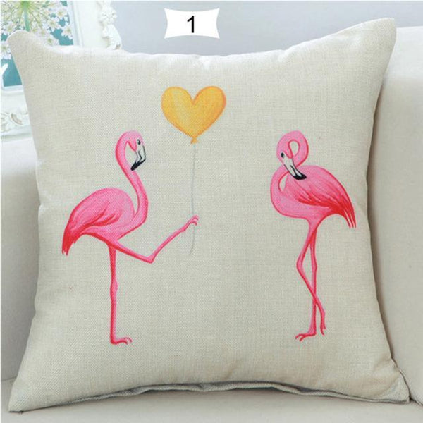 Home Decorative Square Flamingos Cushion Pillows Covers With Zipper Closure High Quality Office