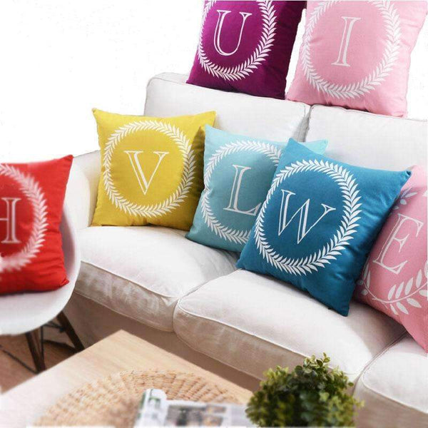 PinKart-USA Online Shopping 1 no filling / 45x45cm 26 Letters Cushions Decorative Pillow Almofada Colorful Pillow Linen Cotton Throw Pillow Cushion Fo