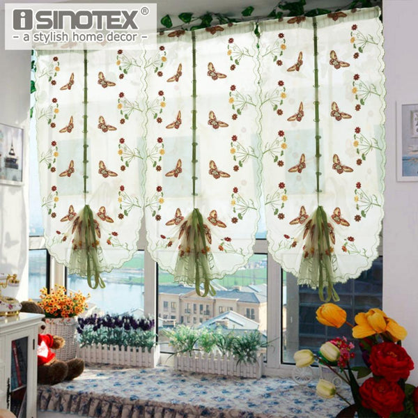 PinKart-USA Online Shopping 1 Pcs Pastoral Tulle Window Roman Curtain Embroidered Sheer For Kitchen Living Room Bedroom