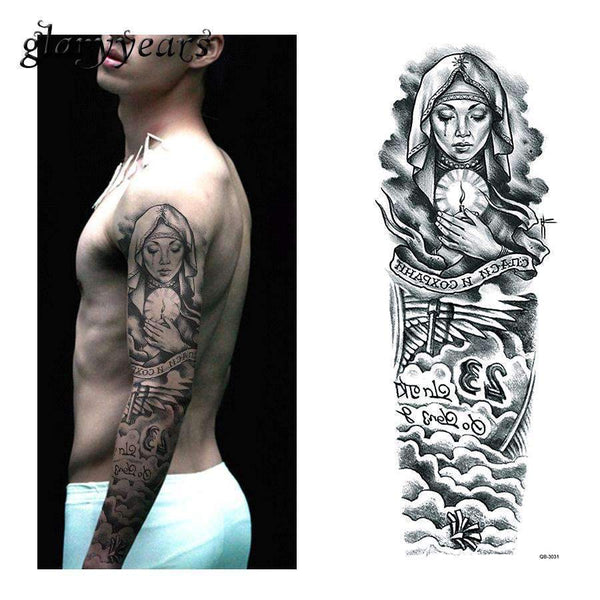PinKart-USA Online Shopping 1 Piece Temporary Tattoo Sticker Nun Girl Pray Design Full Flower Arm Body Art Beckham Big Large