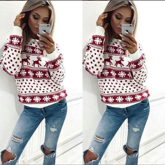 PINkart-USA Online Shopping 1 / S Autumn Knitted Sweater Winter Christmas Sweaters Warm Pullover Christmas Plaid Ladies Female
