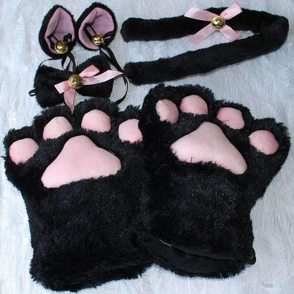 PinKart-USA Online Shopping 1 Set Anime Cosplay Costume Gloves Sweet Cat Ears Plush Paw Claw Gloves Tail Bow-Tie Halloween