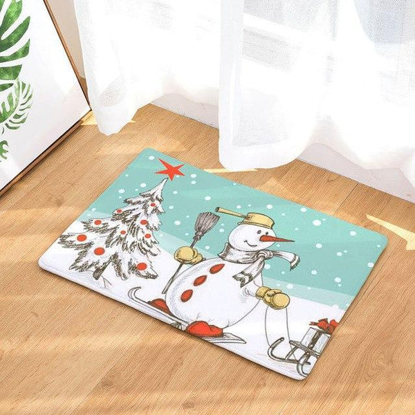 PINkart-USA Online Shopping 10 / 400mm x 600mm Hyha Xmas Mat Waterproof Anti-Slip Doormat Santa Claus Snow Carpets Bedroom Rugs Decorative Stair
