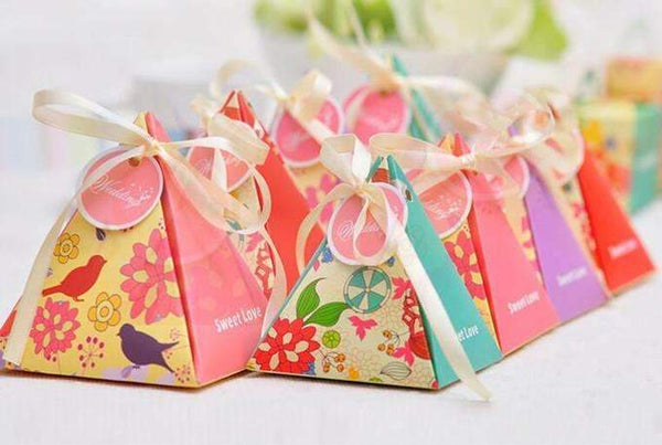 PinKart-USA Online Shopping 10 Style Available 100Pcs/Lot Triangle Flower Candy Box Paper Box Free Hang Tag And Ribbon